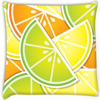 Snoogg  citrus wedge background card in vector format Digitally Printed Cushion Cover Pillow 14 x 14 Inch