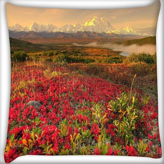 Snoogg Red Autumn Flower Digitally Printed Cushion Cover Pillow 24 X 24 Inch