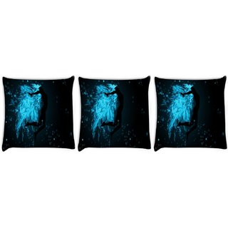 Snoogg Pack Of 3 Fire Jumper Digitally Printed Cushion Cover Pillow 24 X 24Inch