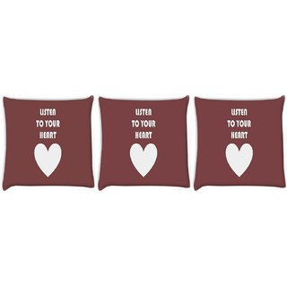 Snoogg Pack Of 3 Listen To Your Heart Digitally Printed Cushion Cover Pillow 24 X 24Inch