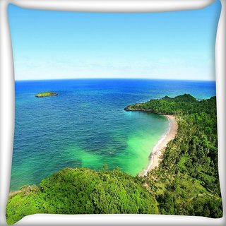 Snoogg Forest And The Sea Digitally Printed Cushion Cover Pillow 24 X 24 Inch
