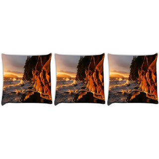 Snoogg Pack Of 3 Rocks On The Sea Waves Digitally Printed Cushion Cover Pillow 24 X 24Inch