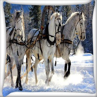 Snoogg White Horse Digitally Printed Cushion Cover Pillow 24 X 24 Inch