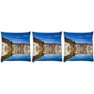 Snoogg Pack Of 3 River And Mountain Digitally Printed Cushion Cover Pillow 24 X 24Inch