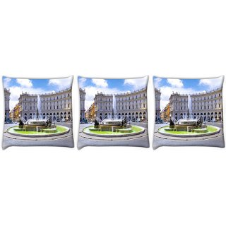 Snoogg Pack Of 3 Water Ponds Digitally Printed Cushion Cover Pillow 24 X 24Inch