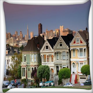 Snoogg Colorful Houses Digitally Printed Cushion Cover Pillow 24 X 24 Inch