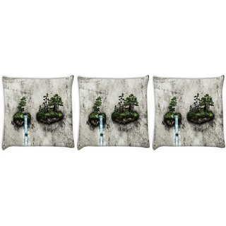 Snoogg Pack Of 3 Water Pouring Digitally Printed Cushion Cover Pillow 24 X 24Inch