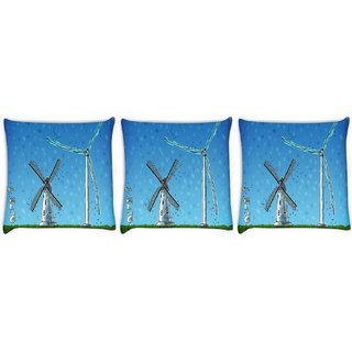 Snoogg Pack Of 3 Windmill Digitally Printed Cushion Cover Pillow 24 X 24Inch