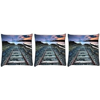 Snoogg Pack Of 3 Railway Track Digitally Printed Cushion Cover Pillow 24 X 24Inch