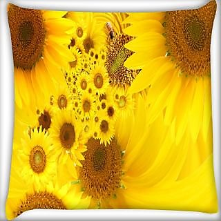 Snoogg Yellow Sunflowers Digitally Printed Cushion Cover Pillow 24 X 24 Inch