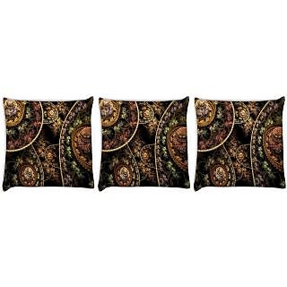 Snoogg Pack Of 3 Fractal Domes Digitally Printed Cushion Cover Pillow 24 X 24Inch