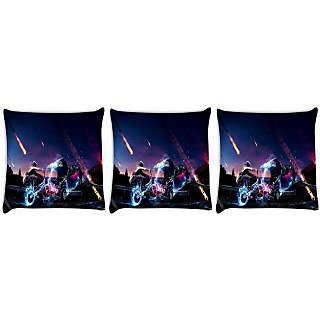 Snoogg Pack Of 3 Meteor Wreck Digitally Printed Cushion Cover Pillow 24 X 24Inch