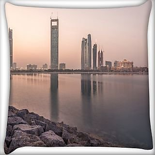 Snoogg Building Near Lake Side Digitally Printed Cushion Cover Pillow 24 X 24 Inch