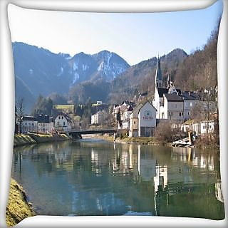 Snoogg Houses And Bridge Near The Lake Digitally Printed Cushion Cover Pillow 24 X 24 Inch