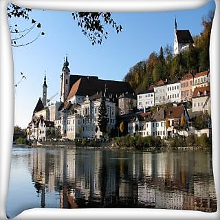 Snoogg Buildings Near The Lake Side Digitally Printed Cushion Cover Pillow 24 X 24 Inch