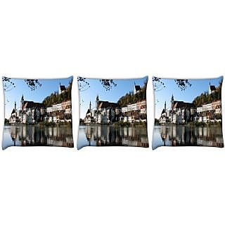 Snoogg Pack Of 3 Buildings Near The Lake Side Digitally Printed Cushion Cover Pillow 24 X 24Inch