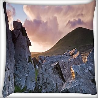 Snoogg Huge Rocks Digitally Printed Cushion Cover Pillow 24 X 24 Inch
