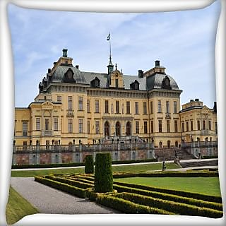 Snoogg Yellow House Digitally Printed Cushion Cover Pillow 24 X 24 Inch