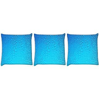 Snoogg Pack Of 3 Blue Water Drops Digitally Printed Cushion Cover Pillow 24 X 24Inch