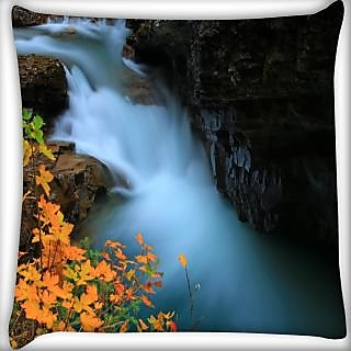 Snoogg Water Flowning In Great Force Digitally Printed Cushion Cover Pillow 24 X 24 Inch