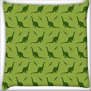 Snoogg Dinosaur Green Patten Digitally Printed Cushion Cover Pillow 24 X 24 Inch