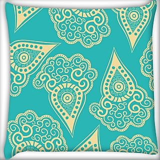 Snoogg Light Yellow Blue Pattern Digitally Printed Cushion Cover Pillow 24 X 24 Inch
