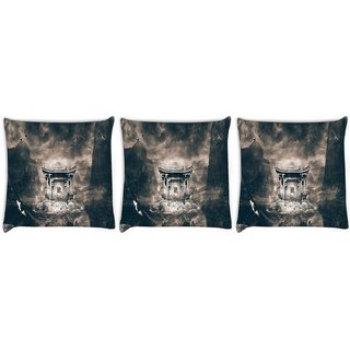 Snoogg Pack Of 3 Birds Flying Around The Small Temple Digitally Printed Cushion Cover Pillow 24 X 24Inch