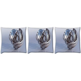 Snoogg Pack Of 3 Abstract Silver Design Digitally Printed Cushion Cover Pillow 24 X 24Inch