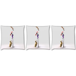 Snoogg Pack Of 3 Mp3 Sailor Digitally Printed Cushion Cover Pillow 24 X 24Inch