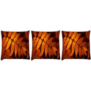 Snoogg Pack Of 3 Orange Leaves Digitally Printed Cushion Cover Pillow 24 X 24Inch