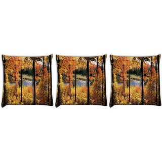 Snoogg Pack Of 3 Forest Trees Digitally Printed Cushion Cover Pillow 24 X 24Inch