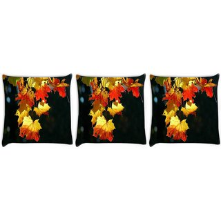 Snoogg Pack Of 3 Autumn Leaves In Trees Digitally Printed Cushion Cover Pillow 24 X 24Inch