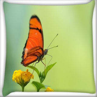 Snoogg Butterfly In Yellow Flower Digitally Printed Cushion Cover Pillow 24 X 24 Inch