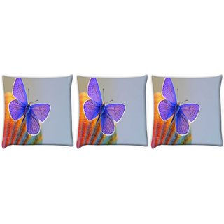 Snoogg Pack Of 3 Purple Butterfly Digitally Printed Cushion Cover Pillow 24 X 24Inch
