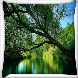 Snoogg Forest Lake Digitally Printed Cushion Cover Pillow 24 X 24 Inch
