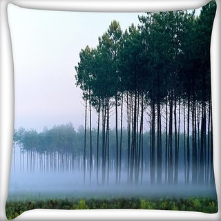 Snoogg Smog And Trees Digitally Printed Cushion Cover Pillow 24 X 24 Inch
