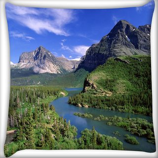 Snoogg Abstract Lake Nature Digitally Printed Cushion Cover Pillow 24 X 24 Inch