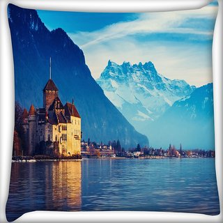 Snoogg Lake Side House Digitally Printed Cushion Cover Pillow 24 X 24 Inch