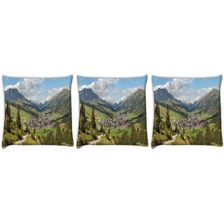 Snoogg Pack Of 3 Houses And Trees Digitally Printed Cushion Cover Pillow 24 X 24Inch