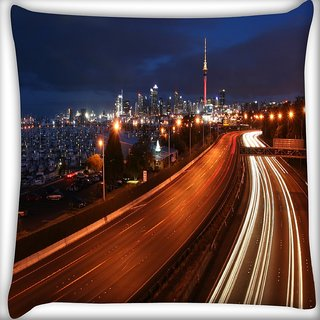 Snoogg Abstract City Roads Digitally Printed Cushion Cover Pillow 24 X 24 Inch