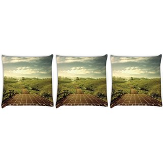 Snoogg Pack Of 3 Integers Digitally Printed Cushion Cover Pillow 24 X 24Inch