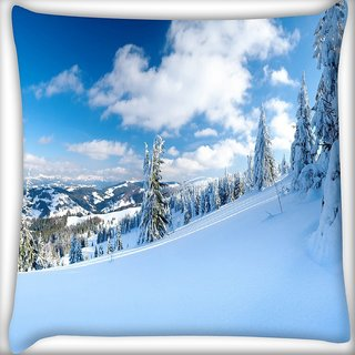 Snoogg Snow Island Digitally Printed Cushion Cover Pillow 24 X 24 Inch