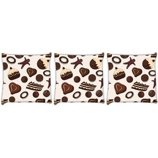 Snoogg Pack Of 3 Brown Chocolates Digitally Printed Cushion Cover Pillow 24 X 24Inch