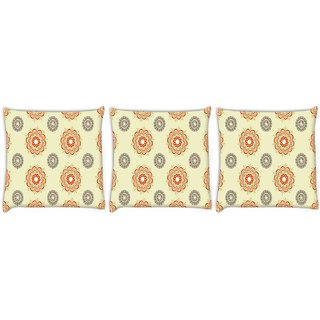 Snoogg Pack Of 3 Multiple Design Cream Pattern Digitally Printed Cushion Cover Pillow 24 X 24Inch