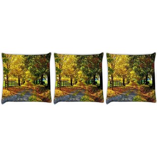Snoogg Pack Of 3 Garden Trees And Way Digitally Printed Cushion Cover Pillow 24 X 24Inch