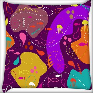 Snoogg Abstract Sea World Digitally Printed Cushion Cover Pillow 24 X 24 Inch