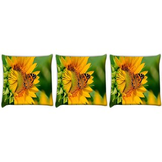 Snoogg Pack Of 3 Butterfly In Yellow Flower Digitally Printed Cushion Cover Pillow 24 X 24Inch