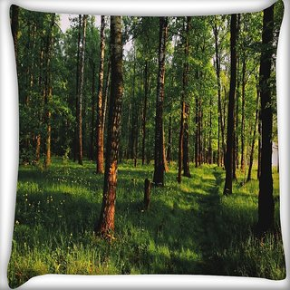 Snoogg Grass And Trees Digitally Printed Cushion Cover Pillow 24 X 24 Inch