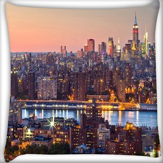Snoogg Colorful Shades Of City Digitally Printed Cushion Cover Pillow 24 X 24 Inch