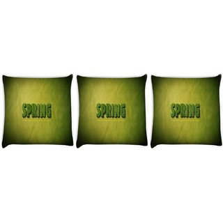 Snoogg Pack Of 3 Spring Digitally Printed Cushion Cover Pillow 24 X 24Inch